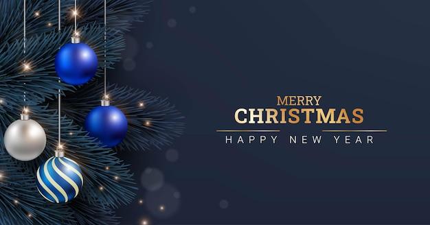 メリークリスマスと新年あけましておめでとうございます背景デザインテンプレート