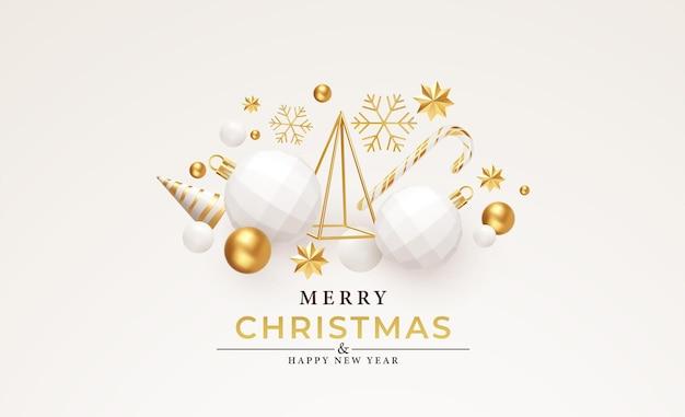 С рождеством и новым годом фон. золотая и белая композиция праздников 3d объектов. елка, елочные игрушки, снежинки и звезды. векторная иллюстрация