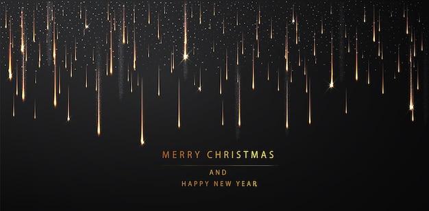 メリークリスマスと新年あけましておめでとうございますの背景。暗い背景にきらめく金色の粒子。抽象的な休日の背景。