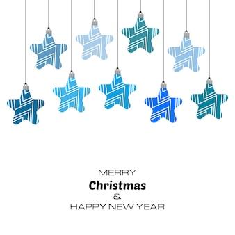 青いクリスマスボールとメリークリスマスと新年あけましておめでとうございますの背景。あなたのグリーティングカード、招待状、お祝いのポスターのベクトルの背景。