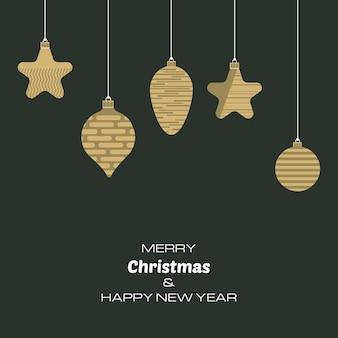 クリスマスボールとメリークリスマスと新年あけましておめでとうございますの背景。あなたのグリーティングカード、招待状、お祝いのポスターのベクトルの背景。