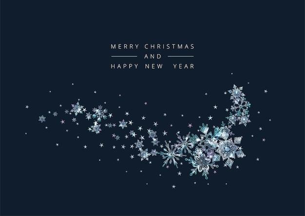 装飾的な雪片とメリークリスマスと新年あけましておめでとうございますの背景