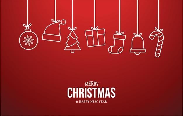 メリークリスマスとフラットクリスマスアイコンと新年あけましておめでとうございますの背景