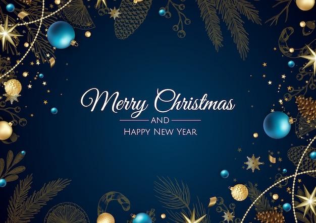 Веселого рождества и счастливого нового года фон со снежинками и шарами
