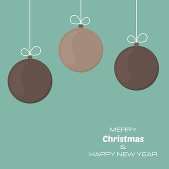 3つのクリスマスボールとメリークリスマスと新年あけましておめでとうございますの背景。あなたのグリーティングカード、招待状、お祝いのポスターのベクトルの背景。
