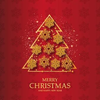 クリスマスツリーとメリークリスマスと新年あけましておめでとうございますバナーの背景