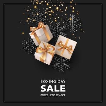 Веселого рождества и счастливого нового года баннер. день подарков баннер с подарочными коробками и украшениями