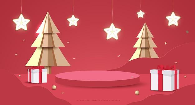 メリークリスマスと新年あけましておめでとうございますのバナー。製品の展示を示すためのスタジオ表彰台を備えた最小限のモックアップシーン。 3dベクトルツリークリスマス、ギフトボックス、パーティー要素。