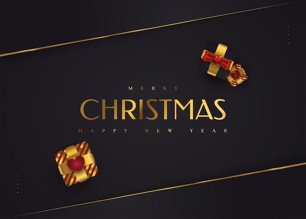 Веселого рождества и счастливого нового года баннер или плакат. элегантная рождественская открытка в черном и золотом цветах с роскошной подарочной коробкой