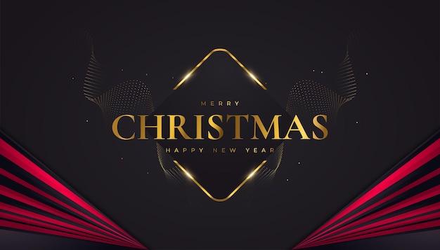 Веселого рождества и счастливого нового года баннер или плакат. элегантная рождественская открытка в черном, красном и золотом цветах