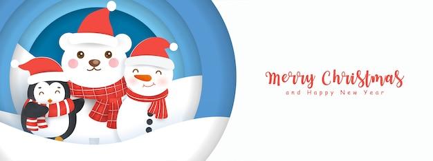 Веселого рождества и счастливого нового года баннер с милым медведем и друзьями в снежном лесу.