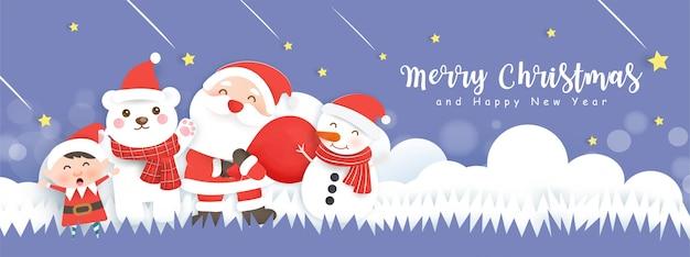 Веселого рождества и счастливого нового года баннер с милым сантой и друзьями в снежном лесу.