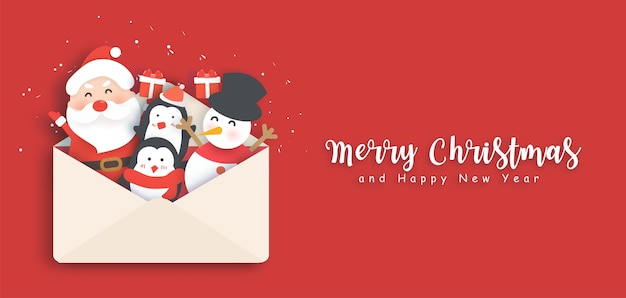 귀여운 산타와 친구와 함께 메리 크리스마스와 새 해 복 많이 받으세요 배너.
