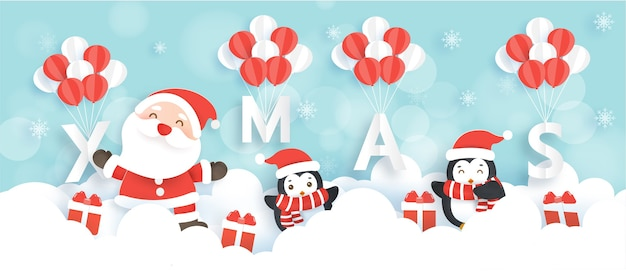 Веселого рождества и счастливого нового года баннер с милым санта-клаусом и пингвинами.