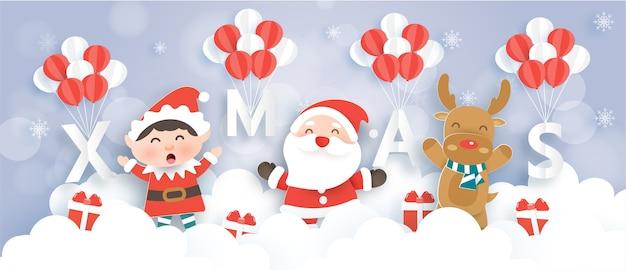 Веселого рождества и счастливого нового года баннер с милым санта-клаусом, эльфом и северным оленем.