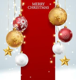 赤と金のボールと紙吹雪とメリークリスマスと新年あけましておめでとうございますのバナー