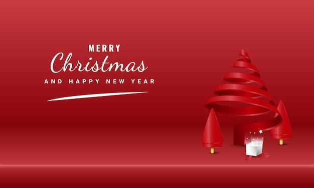 빨간 나선형 나무와 선물 상자가 있는 메리 크리스마스와 새 해 복 많이 받으세요 배너