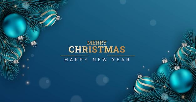 メリークリスマスと新年あけましておめでとうございます青い背景デザイン