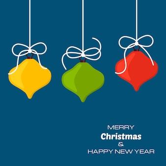 3つのクリスマスボールとメリークリスマスと新年あけましておめでとうございます青い背景。あなたのグリーティングカード、招待状、お祝いのポスターのベクトルの背景。