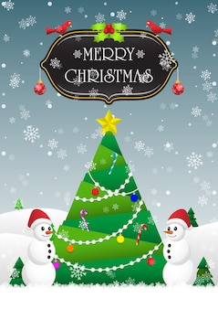 メリークリスマスと新年あけましておめでとうございますカードの背景にクリスマスツリー、雪の男 Premiumベクター