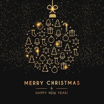 ゴールデンクリスマスボールとメリークリスマスと新年あけましておめでとうございますカード