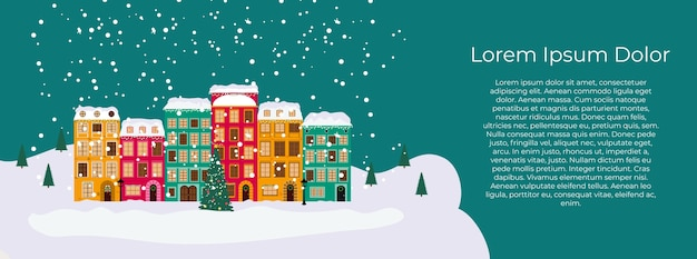 Веселого рождества и счастливого нового года карта с маленьким городком в стиле ретро.
