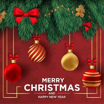 リアルな装飾フレーム付きのメリークリスマスと新年あけましておめでとうございますカード