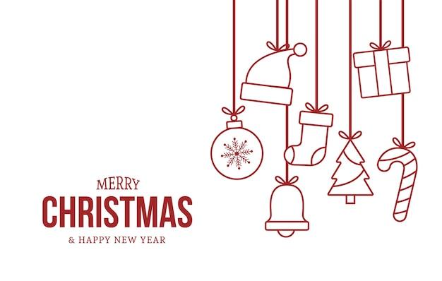赤いかわいいクリスマスの要素を持つメリークリスマスと新年あけましておめでとうございますカード