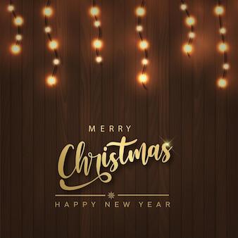 С рождеством и новым годом карта с рождественскими гирляндами на деревянных фоне. вектор