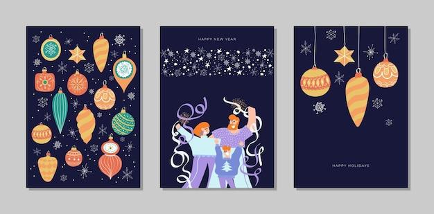 기쁜 성 탄과 새 해 복 많이 받으세요 카드 컬렉션 집합