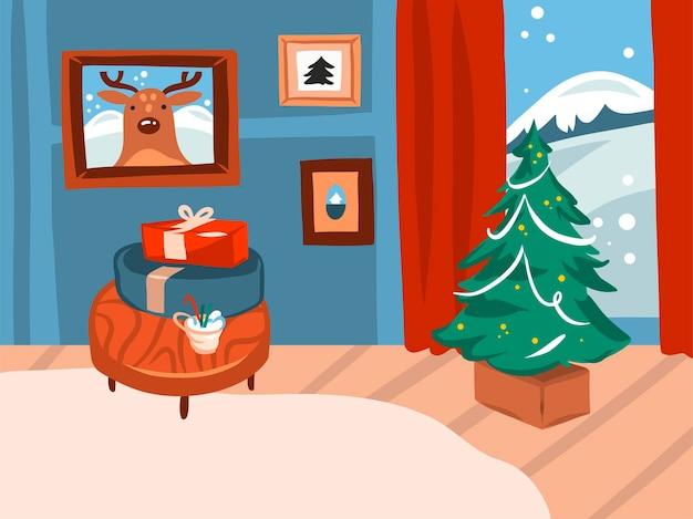 メリークリスマス、そして新年あけましておめでとうございます漫画のお祝いカード