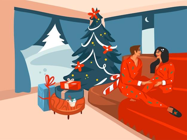 С рождеством и новым годом мультяшная праздничная открытка