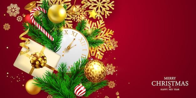 メリークリスマス、そしてハッピーニューイヤー。リボン付きのお祝いテンプレート。豪華な挨拶リッチカード。