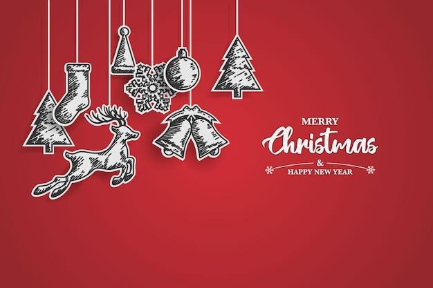 그리기 스케치와 종이 컷 디자인으로 메리 크리스마스와 새해 복 많이 받으세요 크리스마스 배경