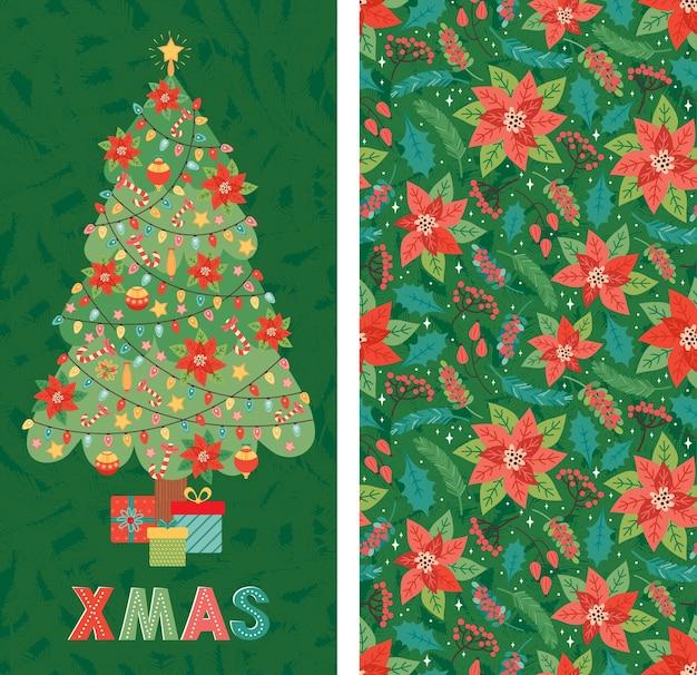 メリークリスマス、そしてハッピーニューイヤー!クリスマスツリーは、おもちゃ、ポインセチア、花輪、キャンディケイン、ギフトで飾られています。カードバナー、挨拶、招待状の伝統的なスタイルの休日のデザインテンプレート