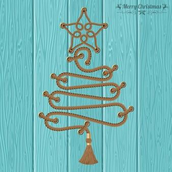 Веселого рождества и счастливого нового года концепции. декоративная рождественская елка из веревок с заклепками и звездой на фоне деревянных досок. векторная иллюстрация