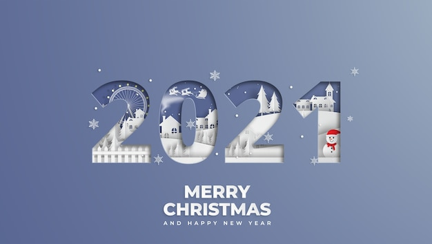 雪だるまと村とメリークリスマスと新年あけましておめでとうございますのコンセプト