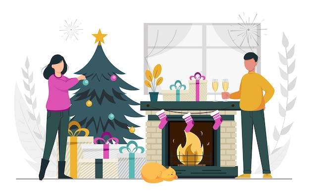 お祝いの準備をしているメリークリスマスと新年あけましておめでとうございますカップル