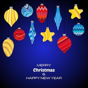 С рождеством и новым годом темно-синий фон с елочными шарами. векторный фон для поздравительных открыток, приглашений, праздничных плакатов.
