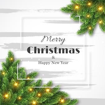메리 크리스마스와 새해 복 많이 받으세요 디자인, 빛나는 조명과 흰색 프레임이 있는 모피 트리 장식. 벡터 일러스트 레이 션.