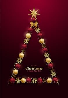 抽象的な装飾的なクリスマスツリーとメリークリスマスと新年あけましておめでとうございますのデザイン。