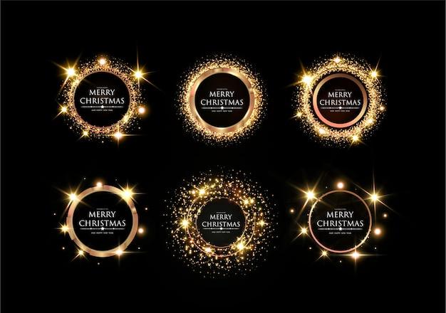 メリークリスマスと新年あけましておめでとうございますエレガントなゴールデンフレーム、ゴールドフェスティブテンプレートデザインで輝くお祭りゴールデン、光沢のある、ライトモダンなフレーム