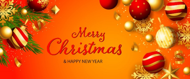 メリークリスマスと新年あけましておめでとうございますお祝いバナー