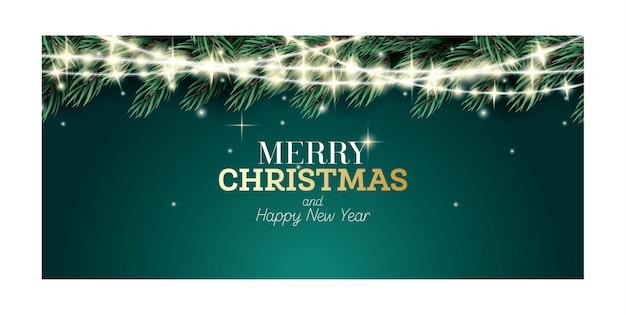 즐거운 성탄절 보내시고 새해 복 많이 받으세요. 네온 화환이 있는 전나무 가지