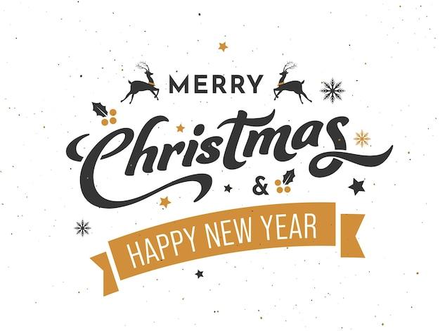 白い背景の上のトナカイとメリークリスマスと新年あけましておめでとうございますフォント