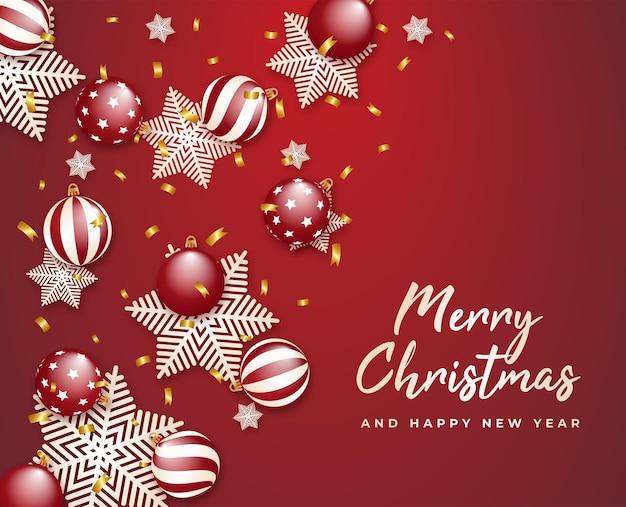 メリークリスマスと新年あけましておめでとうございますギフトカードゴールデンリボンとボール雪片ベクトル