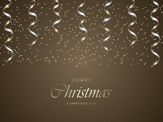 メリークリスマスと新年あけましておめでとうございますゴールドの豪華な背景と金色の紙吹雪