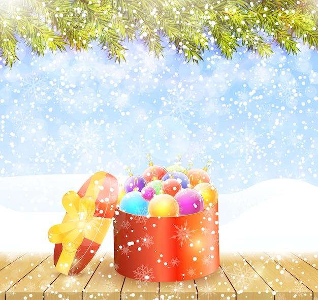 С рождеством и новым годом приветствие фон. зимний пейзаж с еловыми ветками, снежинками и красочными шарами в красной коробке на деревянном столе. иллюстрация