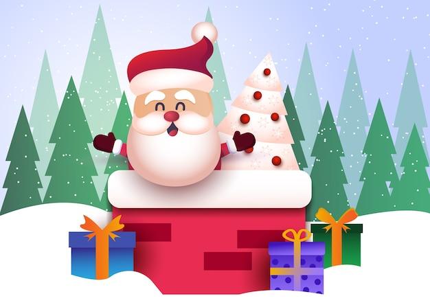 メリークリスマスと新年あけましておめでとうございますサンタクロースと背景の挨拶