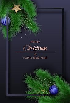 メリークリスマスとトウヒの枝と新年の挨拶の背景